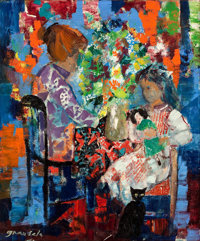 EMILIO GRAU SALA (Spanish, 1911-1975) Untitled (Interior with Mother and Child) , 1967 Oil on canvas