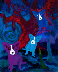 GEORGE RODRIGUE (American, b. 1944) It's at Night I get broken up, 2007 Acrylic on canvas 30 x 24