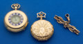Timepieces:Pocket (post 1900), Illinois 14k Gold & Swiss (For Restoration) 18k Gold PocketWatches Plus 9k Gold Pin. ... (Total: 3 Items)
