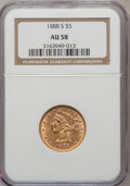 Liberty Half Eagles: , 1888-S $5 AU58 NGC. NGC Census: (106/71). PCGS Population (22/43).Mintage: 293,900. Numismedia Wsl. Price for problem free...