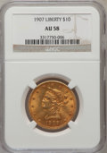 Liberty Eagles: , 1907 $10 AU58 NGC. NGC Census: (365/21900). PCGS Population(514/14064). Mintage: 1,203,973. Numismedia Wsl. Price for prob...