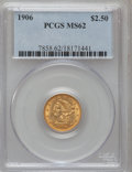 Liberty Quarter Eagles: , 1906 $2 1/2 MS62 PCGS. PCGS Population (945/3227). NGC Census:(1221/2940). Mintage: 176,300. Numismedia Wsl. Price for pro...