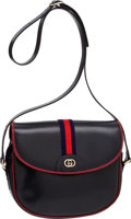 Luxury Accessories:Bags, Gucci Vintage Navy Blue Leather with Red Piping Classic Bag. ...
