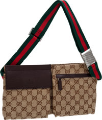 Gucci Classic Monogram Beige Canvas Multipocket Fanny Pack