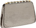Luxury Accessories:Bags, Judith Leiber Rare Silver Snakeskin Evening Bag. ...