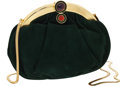 Luxury Accessories:Bags, Judith Leiber Green Suede Evening Bag. ...