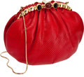 Luxury Accessories:Bags, Judith Leiber Red Lizard Bag. ...