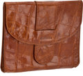 Luxury Accessories:Bags, Set of Two: Giorgio Armani Cognac Alligator Vintage Clutch &Pouch. ...