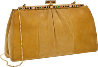 Judith Leiber Mustard Suede Bag with Multicolor Cabochon Closure