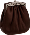 Luxury Accessories:Bags, Judith Leiber Rich Brown Satin Evening Bag with Silver Closure. ...