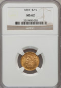 Liberty Quarter Eagles: , 1897 $2 1/2 MS62 NGC. NGC Census: (242/509). PCGS Population(237/490). Mintage: 29,700. Numismedia Wsl. Price for problem ...