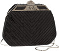 Luxury Accessories:Bags, Judith Leiber Black Snakeskin Evening Bag with Deco Beaded Closure....