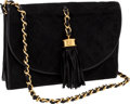 Luxury Accessories:Bags, Chanel Black Suede Diamond-Quilted Evening Bag with SignatureTassel and Chain Strap. ...
