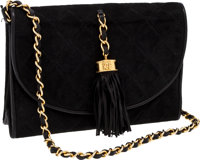 Chanel Black Suede Diamond-Quilted Evening Bag with Signature Tassel and Chain Strap