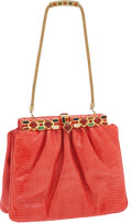 Luxury Accessories:Bags, Judith Leiber Red Lizard Bag with Jeweled Clasp & Strap. ...