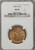 Indian Eagles: , 1909-S $10 AU50 NGC. NGC Census: (20/551). PCGS Population(36/511). Mintage: 292,350. Numismedia Wsl. Price for problem fr...
