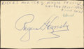 Baseball Collectibles:Others, 1952 Rogers Hornsby Signed Government Postcard....