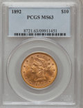 Liberty Eagles: , 1892 $10 MS63 PCGS. PCGS Population (223/25). NGC Census: (622/42).Mintage: 797,400. Numismedia Wsl. Price for problem fre...
