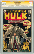 Silver Age (1956-1969):Superhero, The Incredible Hulk #1 CGC Signature Series (Marvel, 1962) CGC VG+4.5 Off-white to white pages....