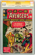 Silver Age (1956-1969):Superhero, The Avengers #1 CGC Signature Series (Marvel, 1963) CGC FN- 5.5 Off-white to white pages....