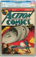 Golden Age (1938-1955):Superhero, Action Comics #17 (DC, 1939) CGC FN- 5.5 White pages....