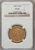 Liberty Eagles: , 1855-S $10 VF25 NGC. NGC Census: (1/35). PCGS Population (7/46).Mintage: 9,000. Numismedia Wsl. Price for problem free NGC...