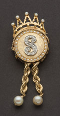 Estate Jewelry:Brooches - Pins, Exquisite Diamond, Gold & Pearl Pin/Locket. ...