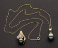 Estate Jewelry:Coin Jewelry and Suites, Early Tahitian Pearl & Diamond Ring, Earrings & Two Pendants. ... (Total: 4 Items)