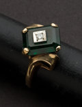 Estate Jewelry:Rings, Gold Ring With A Synthetic Green Stone. ...
