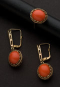 Estate Jewelry:Other , Early Gold & Coral Ring & Earrings. ...