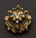 Estate Jewelry:Brooches - Pins, Unique Gold Lion Pin. ...
