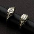 Estate Jewelry:Rings, Two Early Diamond & Gold Rings. ... (Total: 2 Items)