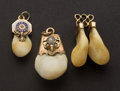 Estate Jewelry:Other , Three Gold Elk's Teeth. ... (Total: 3 Items)