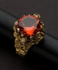 Estate Jewelry:Rings, Gents Gold & Colored Red Stone Ring. ...