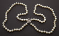 Estate Jewelry:Pearls, Estate Double Strand Of Pearls With Diamond Clasp. ...
