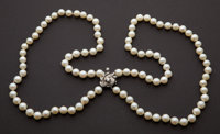 Estate Double Strand Of Pearls With Diamond Clasp