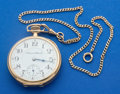 Timepieces:Pocket (post 1900), Hampden 14k Gold 16 Size With 14k Gold Chain Pocket Watch. ...
