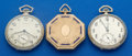 Timepieces:Pocket (post 1900), Three Gold Filled Illinois's 12 Sizes Pocket Watches One With Enamel. ... (Total: 3 Items)