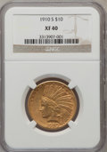 Indian Eagles: , 1910-S $10 XF40 NGC. NGC Census: (27/1241). PCGS Population(32/1380). Mintage: 811,000. Numismedia Wsl. Price for problem ...