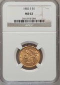 1882-S $5 MS62 NGC. NGC Census: (716/589). PCGS Population (439/422). Mintage: 969,000. Numismedia Wsl. Price for proble...