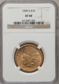 Indian Eagles: , 1909-S $10 XF40 NGC. NGC Census: (10/581). PCGS Population(22/579). Mintage: 292,350. Numismedia Wsl. Price for problem fr...