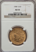 Indian Eagles: , 1909 $10 AU53 NGC. NGC Census: (19/1752). PCGS Population(47/1590). Mintage: 184,700. Numismedia Wsl. Price for problemfr...