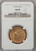 Indian Eagles: , 1912-S $10 AU50 NGC. NGC Census: (31/798). PCGS Population(41/668). Mintage: 300,000. Numismedia Wsl. Price for problem fr...