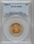 1882-S $5 MS62 PCGS. PCGS Population (439/422). NGC Census: (716/589). Mintage: 969,000. Numismedia Wsl. Price for probl...