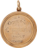 Golf Collectibles:Miscellaneous, 1957 Bobby Locke British Open Championship Gold Medal & Winning Ball....