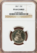 Proof Seated Quarters: , 1867 25C PR64 Cameo NGC. NGC Census: (14/13). PCGS Population(8/11). (#85566)...
