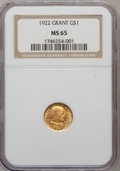 Commemorative Gold, 1922 G$1 Grant No Star MS65 NGC....