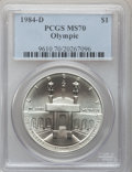 Modern Issues: , 1984-D $1 Olympic Silver Dollar MS70 PCGS. PCGS Population (5). NGCCensus: (4). Mintage: 116,000. Numismedia Wsl. Price fo...