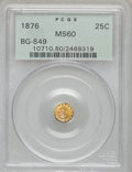 California Fractional Gold: , 1876 25C Indian Round 25 Cents, BG-849, High R.5, MS60 PCGS. PCGSPopulation (1/22). NGC Census: (0/1). (#10710)...
