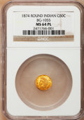 California Fractional Gold: , 1874 50C Indian Round 50 Cents, BG-1055, High R.4, MS64 ProoflikeNGC. NGC Census: (7/1). (#71088...